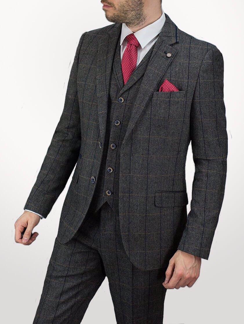 Grey/navy Albert Tweed  Suit