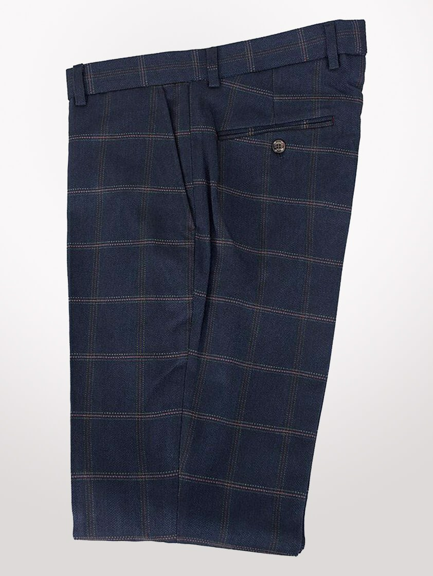 Navy Connall Check Trousers - save 35%