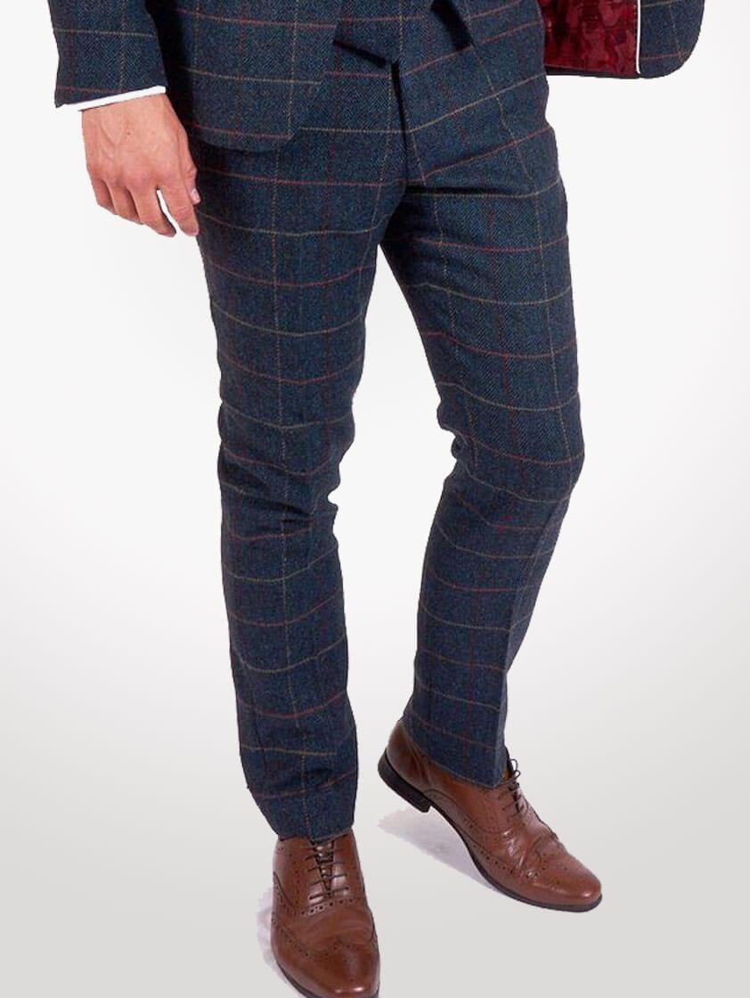 Blue Eton Tweed Check Suit
