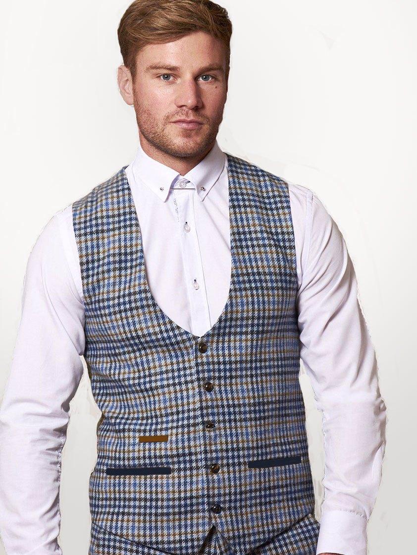 Blue Watson Tweed Check Waistcoat