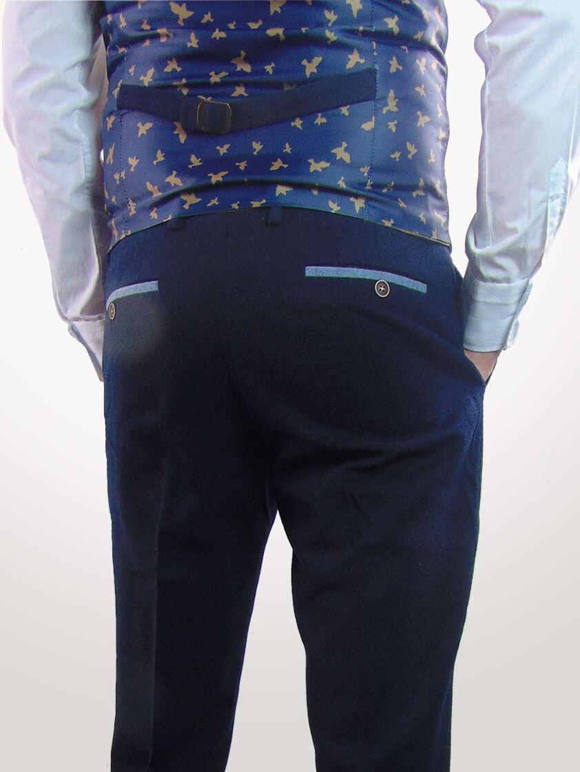 Navy Slim Fit Wool Blend Trousers - Save 40%