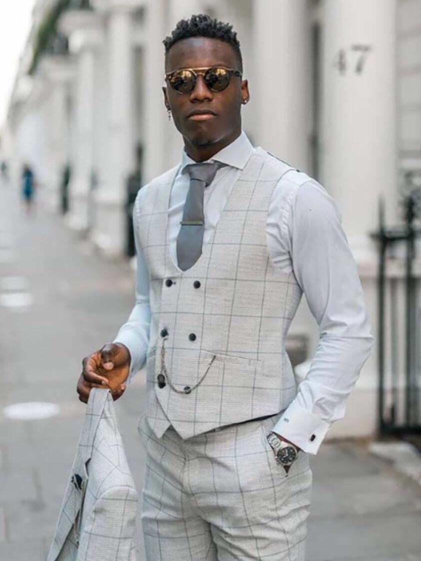 Silver Radika Check Suit