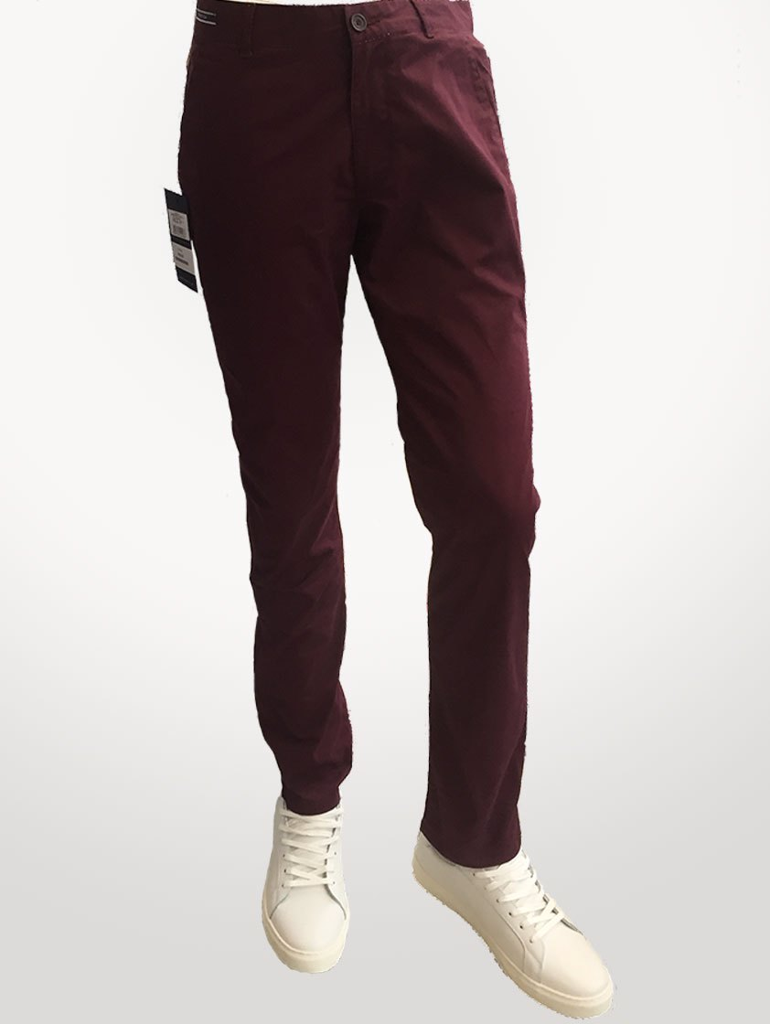 Burgundy Jeans Casual Chinos - Save 30%
