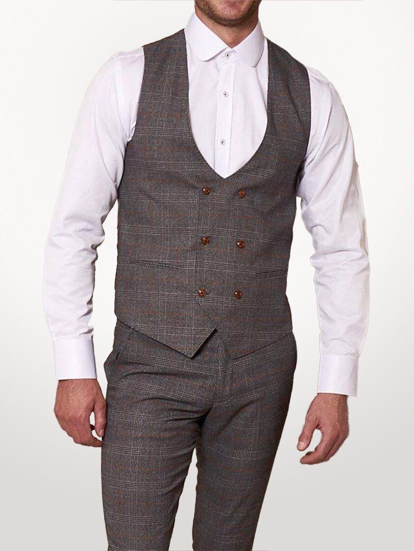 Grey Jenson Check Waistcoat