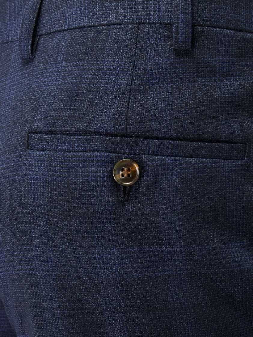 Navy Suddard Tailored Check Trousers