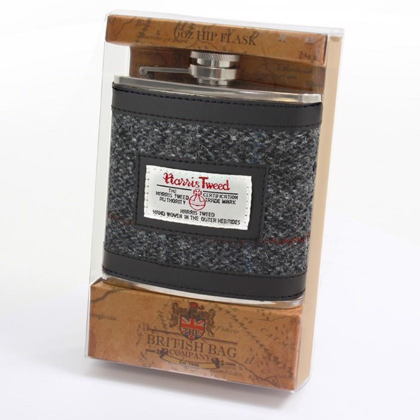 Grey Harris Tweed Berneray Hip Flask - SAVE 25%