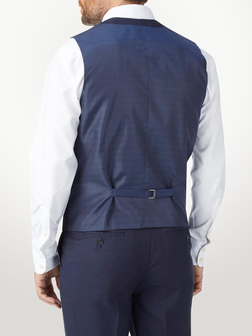 Navy Harcourt Slim Fit V neck Waistcoat