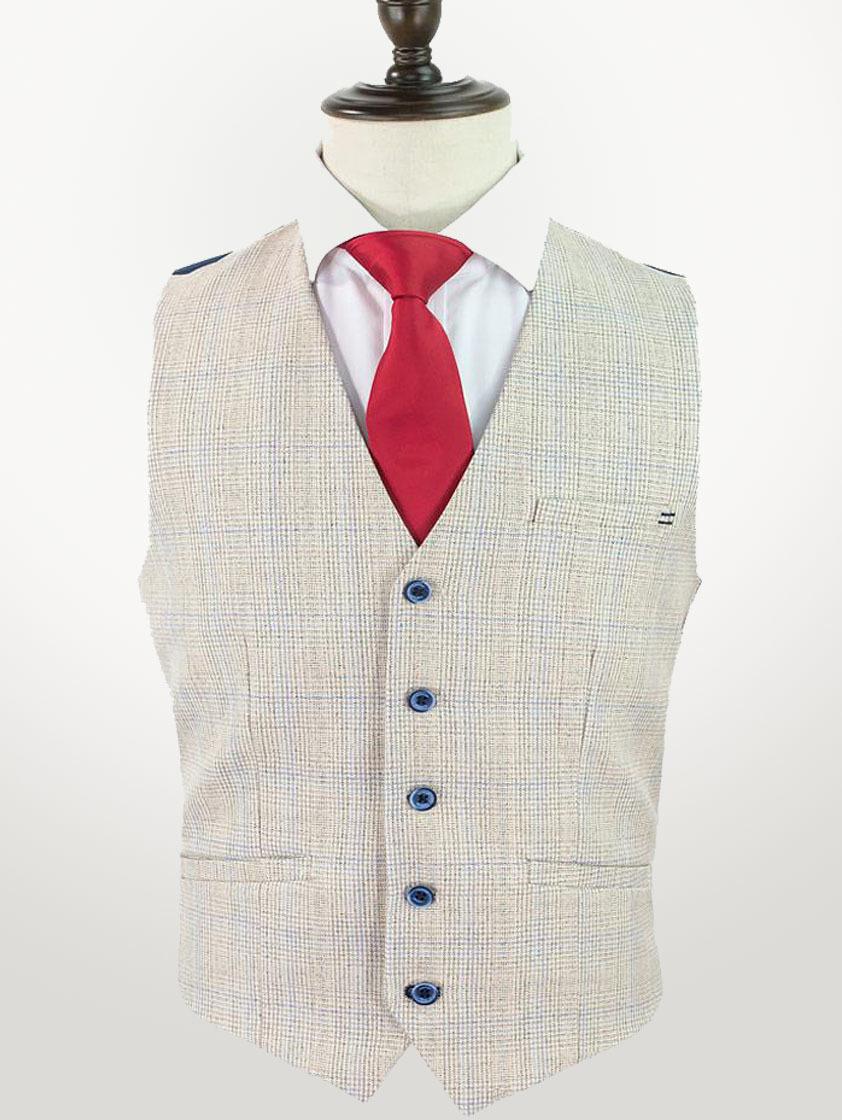 Cream Caridi Check Waistcoat