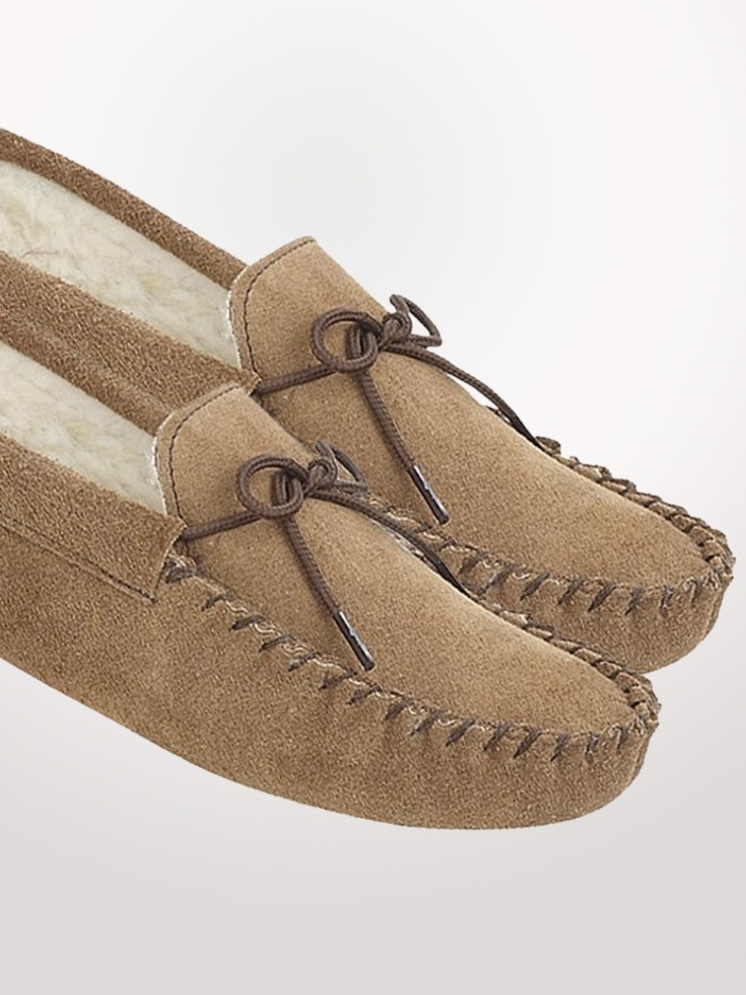 Beige Suede Moccasin Slippers