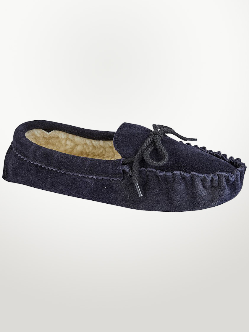 Navy Suede Moccasin Slippers