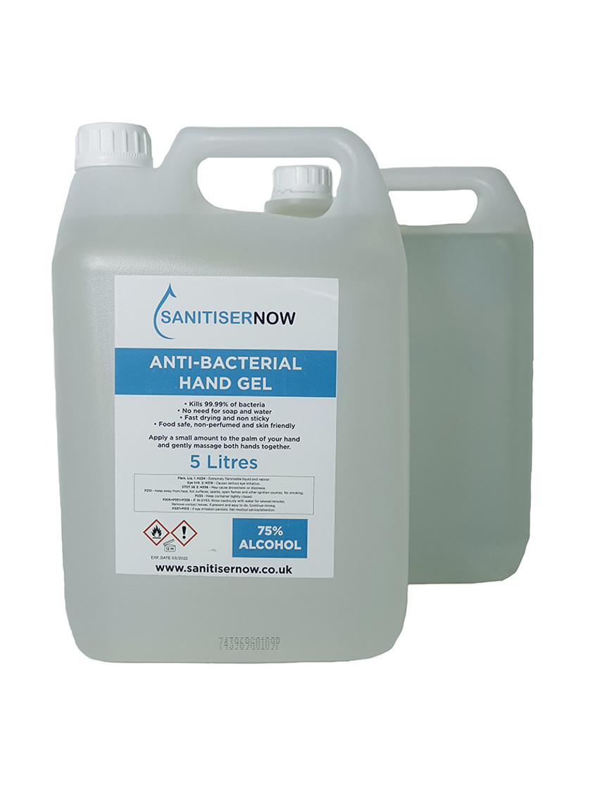 2 x 5000ml 70% Alcohol Sanitising Gel with added Aloe Vera & Peach Scented
