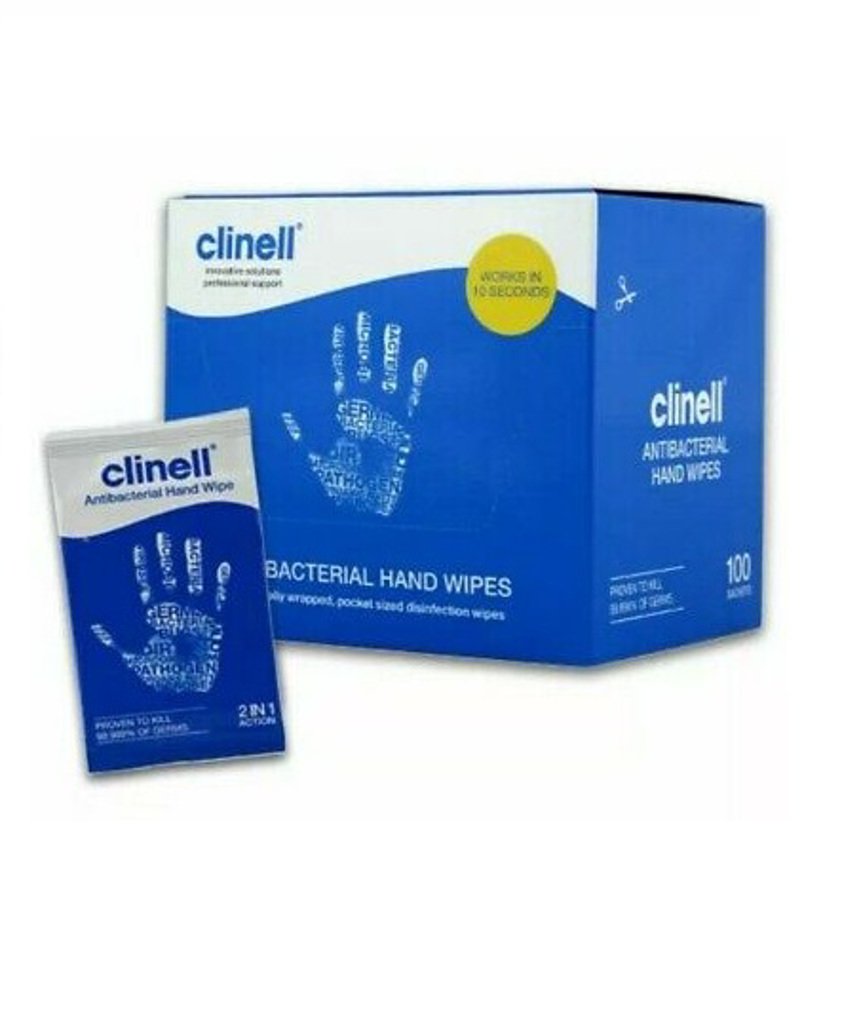 100 x Clinell Antibacterial Hand Wipes (Individually Wrapped)