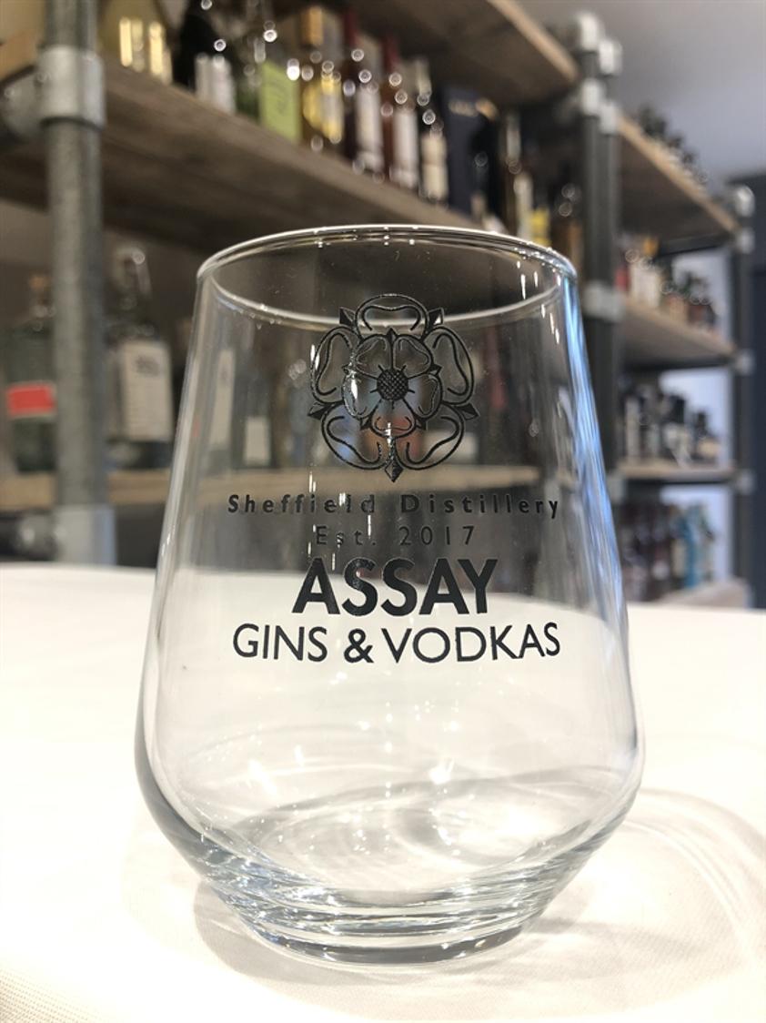 Assay branded gin glass