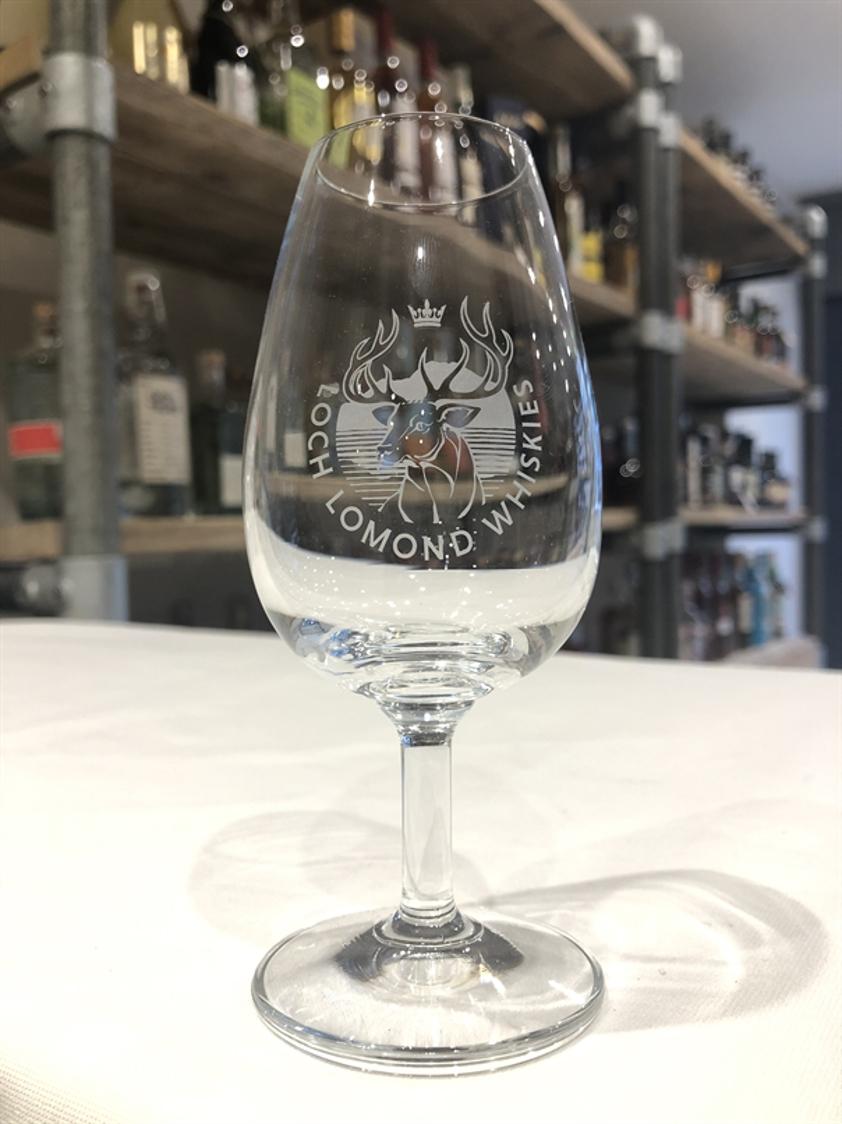 Loch Lomond branded stemmed glass