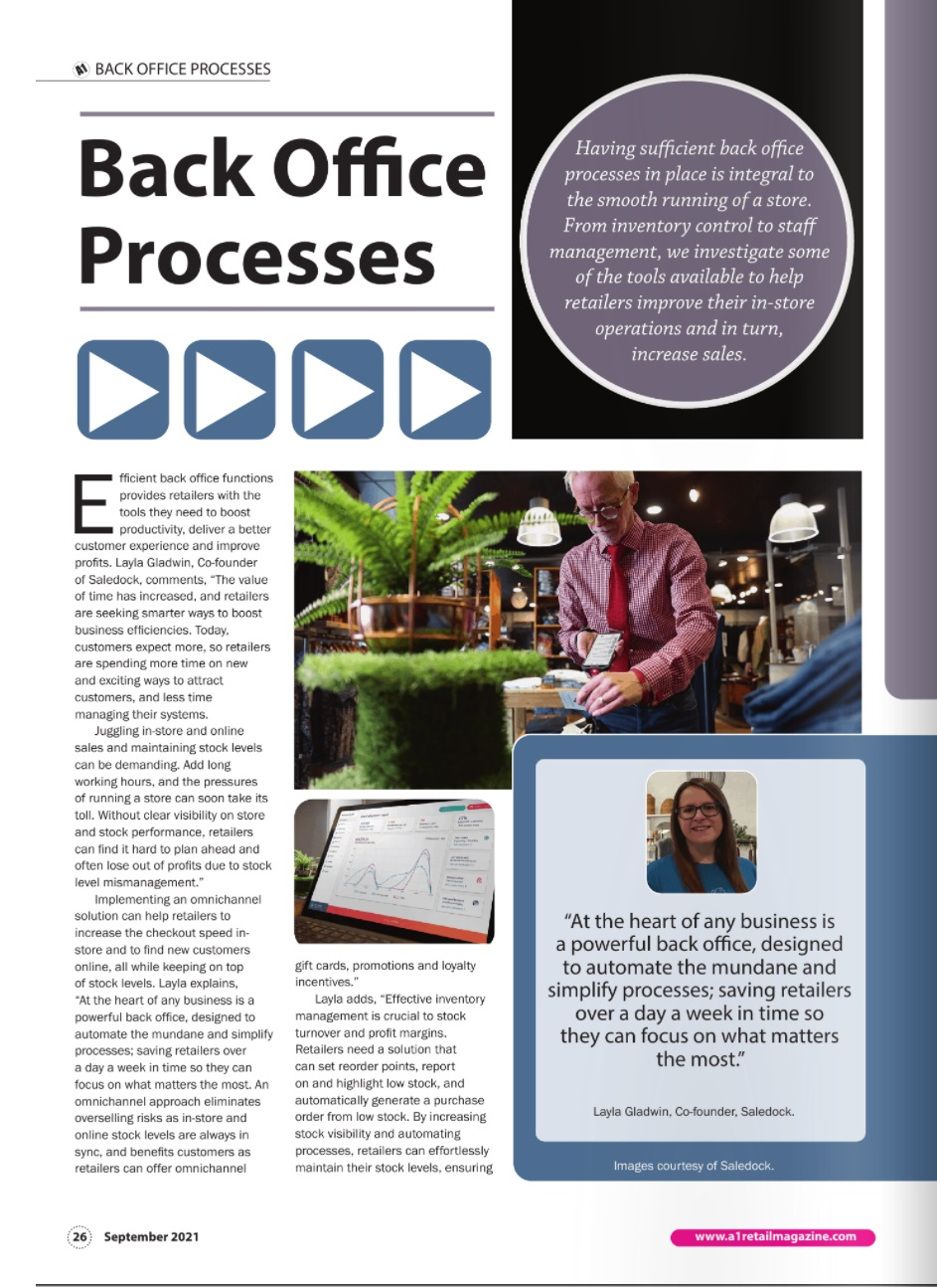 Saledock features in the A1 Retail Magazine September 2021